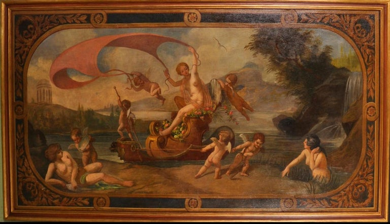 Amphitrite & The Cherubs - Enormous 18th Century Italian Classical Oil Painting - Brown Figurative Painting by Follower of Francois Boucher (1703-1770)