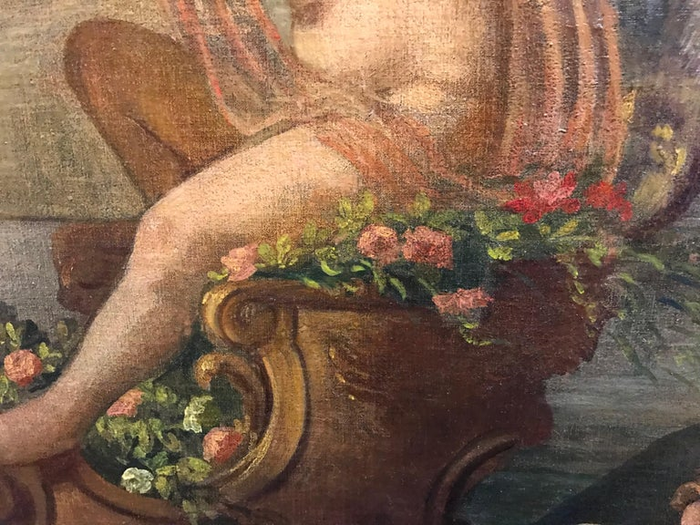 Amphitrite & The Cherubs - Enormous 18th Century Italian Classical Oil Painting For Sale 2