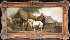 The Victorian Farmer, Horses & Farm Workers Traditional Oil Painting