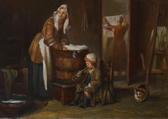 Interior Laundry Scene, Large Oil Painting on Canvas by Louvre Copyist