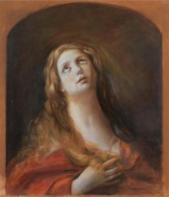 Saint Mary Magdalene, Large Oil Painting on Canvas by Louvre Copyist