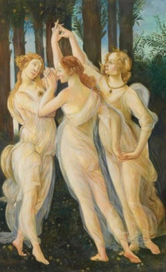 The Three Graces, Large Oil Painting on Canvas by Louvre Copyist