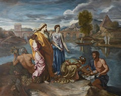Moses saved from the Water, Large Oil Painting on Canvas by Louvre Copyist