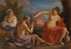 Lot and his Daughters, Large Oil Painting on Canvas by Louvre Copyist