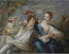 The Alliance of Love and Wine, Large Oil Painting on Canvas by Louvre Copyist