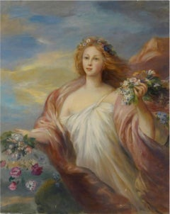 Spring, Large Oil Painting on Canvas by Louvre Copyist