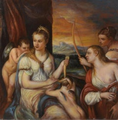 Venus Bandaging the Eyes of Love, Large Oil Painting on Canvas by Louvre Copyist
