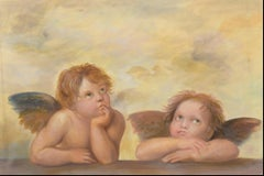 Two Angels, Large Oil Painting on Canvas by Louvre Copyist