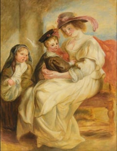 Hélène Fourment and her Children, Large Oil Painting on Canvas by Louvre Copyist