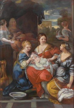 The Nativity of the Virgin, Large Oil Painting on Canvas by Louvre Copyist