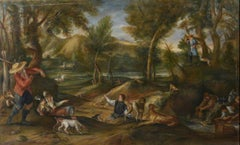 The Hunt, Large Oil Painting on Canvas by Louvre Copyist