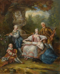 Marquis of Sourches and family, Large Oil Painting on Canvas by Louvre Copyist