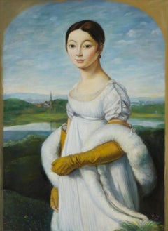 Mademoiselle Rivière, Large Oil Painting on Canvas by Louvre Copyist