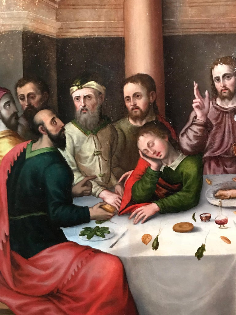 The Last Supper, circa 1500, Important Early Old Master Oil Painting For Sale 2