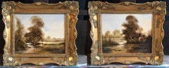 Pair English Rural Landscape Oil Paintings, Signed by the Artist