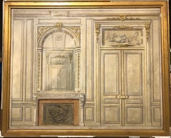 French Chateau Architectural Interior Design Original Oil Painting