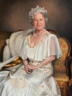 Queen Elizabeth The Queen Mother Very Large Original Oil Painting
