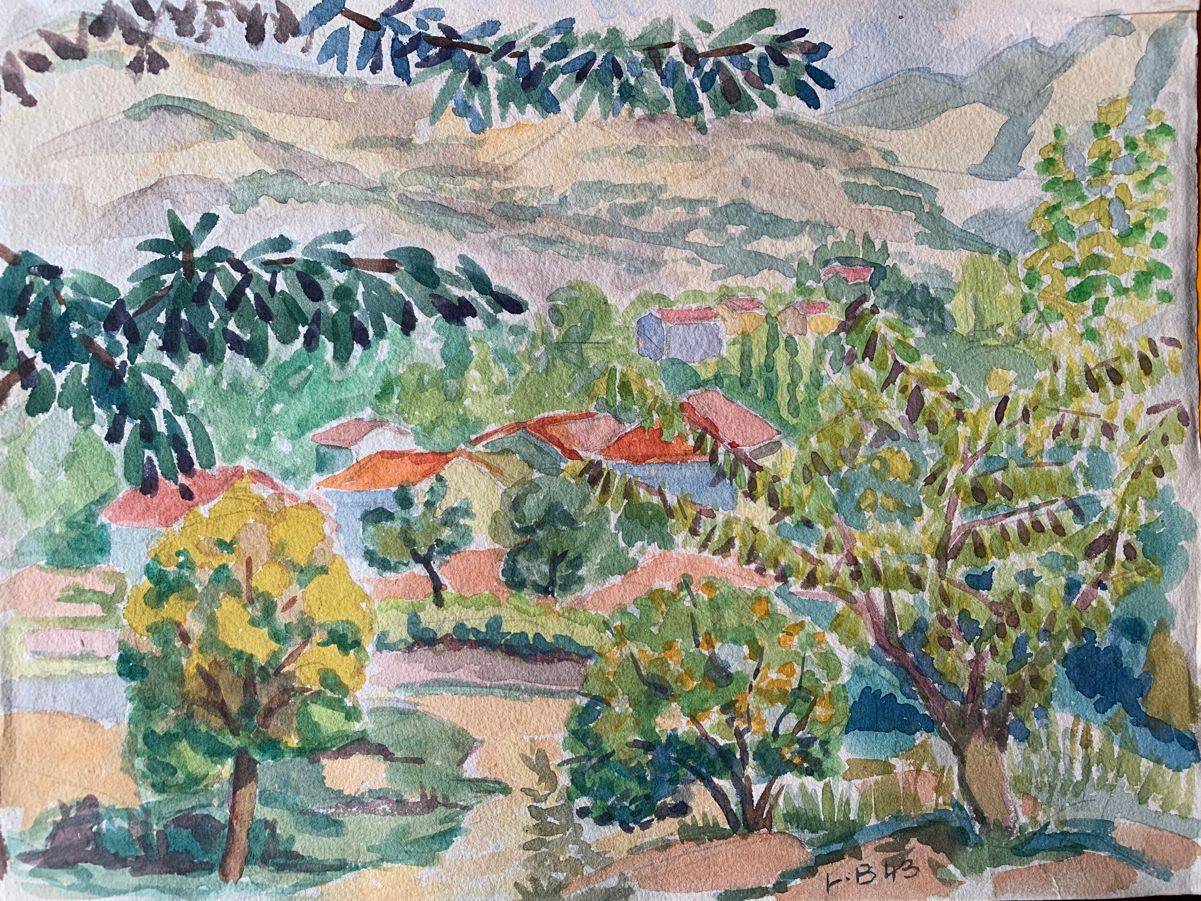 Provence Landscape Post-Impressionist Signed 1940's Painting