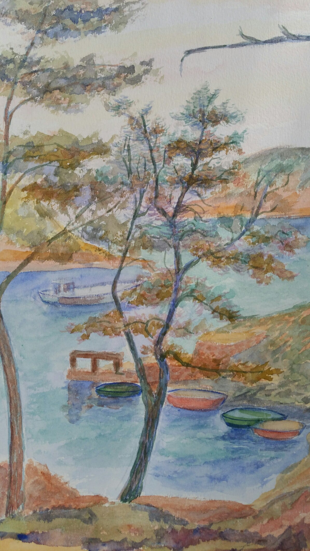 Provence Boats Landscape Post-Impressionist Signed 1940's Painting