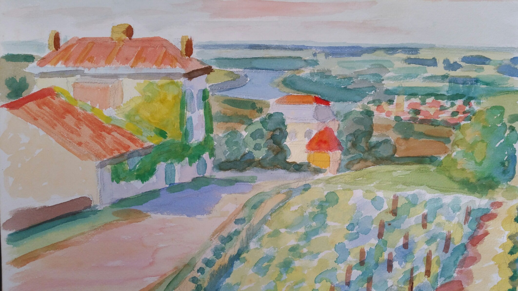 Provence Vineyard Village Landscape Post-Impressionist Signed 1962 Painting