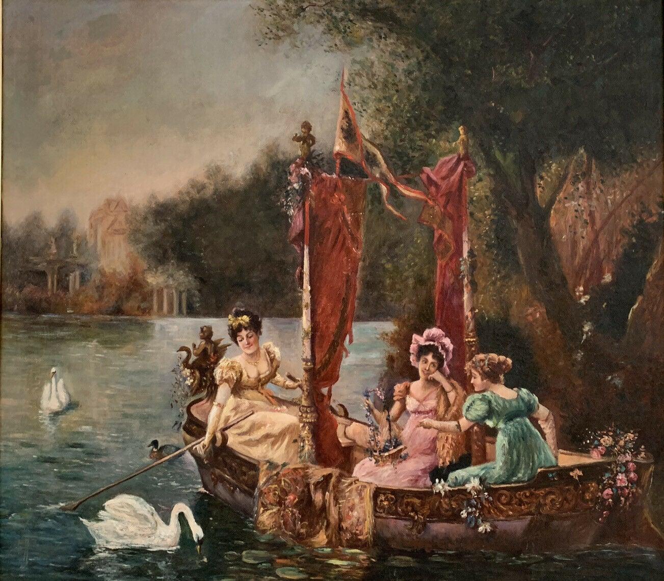 C. 1900 FRENCH BELLE EPOQUE HUGE OIL PAINTING - ELEGANT LADIES BOATING ON LAKE