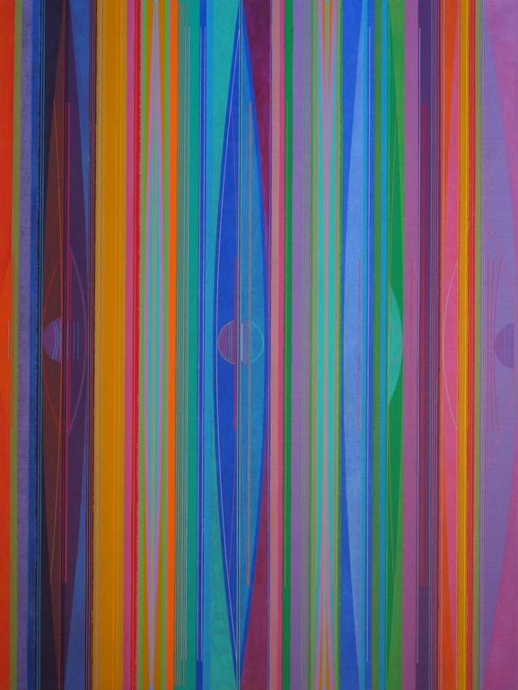 Julio Granda Abstract Painting - Between the Bands/The Journey