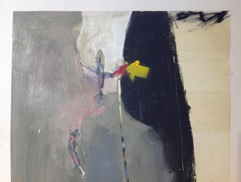 untitled - Gray Abstract Painting by T.L. Lange