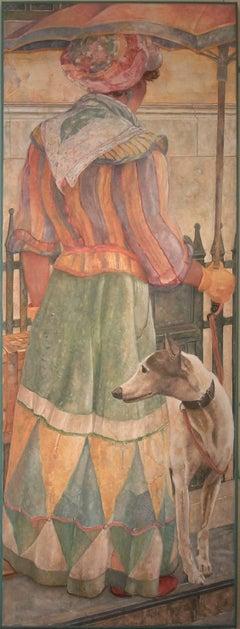 Black Suffragette Walks Her Dog in the Rain