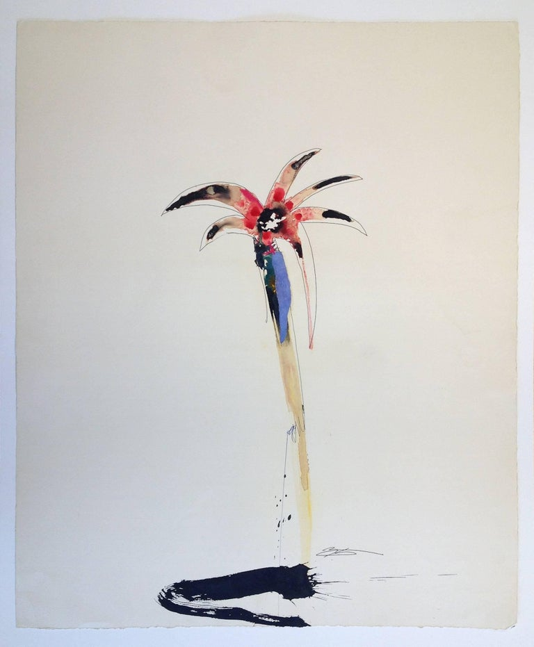 "Later in his career, T. L. Lange created a series of paintings depicting a singular abstracted flower, figure, or object.  This is one of the few remaining ""flower"" examples from this series.  Born in Oil City, Pennsylvania in 1965, T.L. Lange grew"