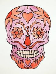 Red Tattoo Skull - Monoprint - Contemporary