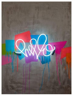 "Hello Beautiful - Neon Series 36x48""Contemporary Graffiti and Neon on Wood"