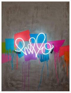 Hello Beautiful - Original Graffiti Painting - Contemporary - Neon on Wood