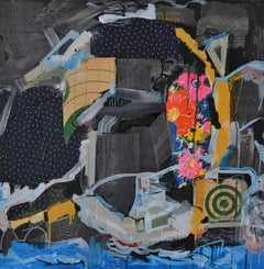Any minute now - Original Mixed Media Collage Painting - Abstract Modern