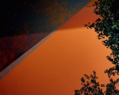 Orange and Blue Diagonal with Foliage - Abstract Photograph - Archival Print
