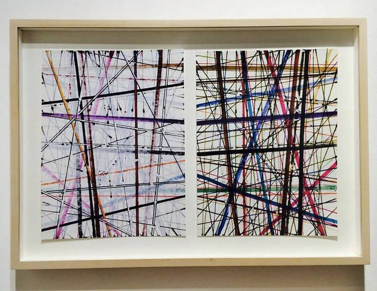 Robert Witz Abstract Print - Framed Marker Drawings - Untitled Diptych 2 - Abstract Modern - Fine Art Print