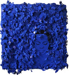 Call Me By My Name - Mixed Media Wall Relief - Contemporary Portrait - Blue