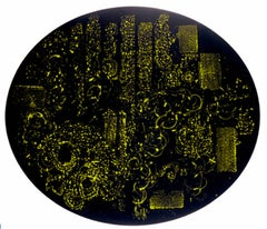 Words Soon Forgotten - Original Abstract Painting - Black and Gold Canvas