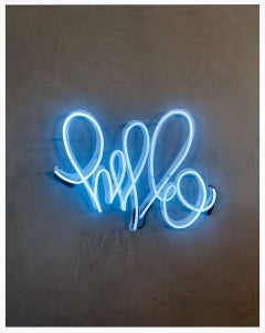 "Hello Love - Neon Series 36x48"" Contemporary Graffiti and Neon on Wood Panels"