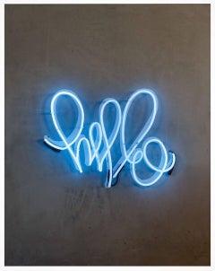 Hello Love - Original Graffiti Painting - Contemporary - Neon on Wood