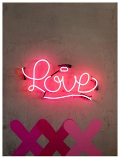 "XXXL Love - Neon Series - 48x36"" Contemporary Graffiti and Neon on Wood Panels"