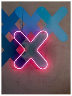 "XXX - Neon Series - 48x36"" Contemporary Graffiti and Neon on Wood Panels"