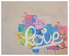 "Love - Neon Series 36x48"", Contemporary Graffiti and Neon on Wood Panels"