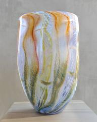Large blown glass round vase. Murano glass style colors blue, orange, green, red