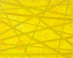 Large yellow acrylic in linen painting. Composition in yellow. By Ien Lucas