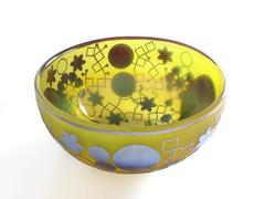 Yellow blown glass decorative bowl, by Sabine Lintzen