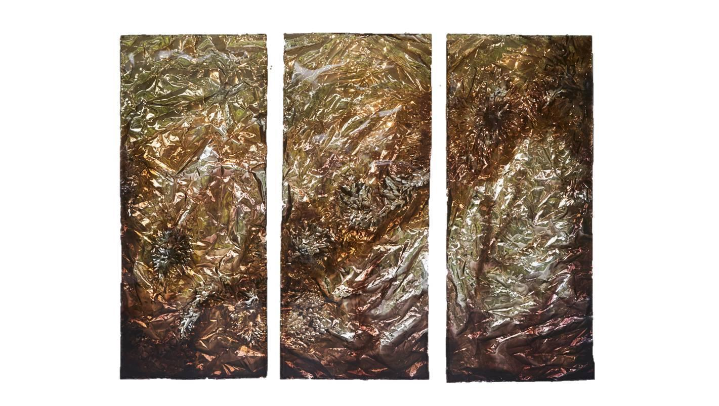 Superieur Pleunie Buyink   Wall Art U0027Momentsu0027, Triptych In Gold And Bronze Color By  Pleunie Buyink, Painting At 1stdibs