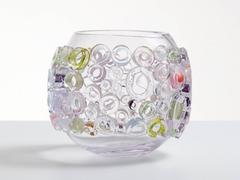Clear pastels and white blown glass vessel in a contemporary Murano glass style.