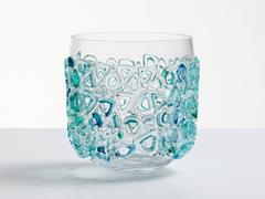 Clear glass vessel. Murano glass style glass bowl, clear glass with blue & green