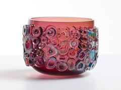Ruby blown glass bowl in Murano glass style. Colorful glass centerpiece.