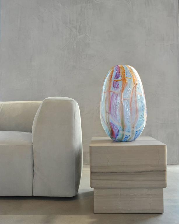 Big blown glass vase. Murano glass style colors purple, blue, orange and white. - Sculpture by Richard Price